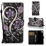 Dingtao-EU Sony Xperia M4 Aqua Funda,3D PU Cuero Cartera de Cuero Funda para Sony Xperia M4 Aqua (Flor de Pavo Real)