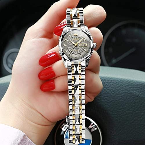 BDYALINGVN Señoras Mecanica automática Reloj de Acero Inoxidable Impermeable. (Color : Greyface)
