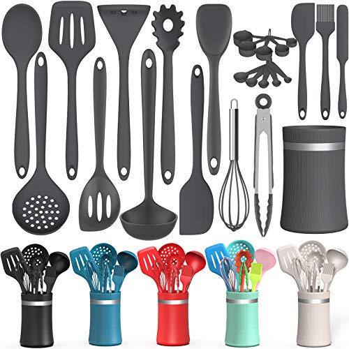 AIKKIL, juego de utensilios de cocina de silicona, 24 piezas de utensilios de cocina antiadherentes, juego de espátulas con soporte para utensilios de cocina resistentes al calor...