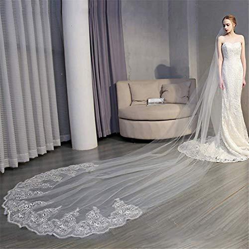 HHVEIL One-Tier Brautschleier mit Kämmen Elegant & Luxuriös Stil Hochzeit Kopfbedeckungen 1T Dom Schleier mit Applikation Lace Kante 157,48 in (400 cm)