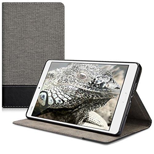 kwmobile Schutzhülle kompatibel mit Huawei MediaPad M3 8.4 - Hülle Slim - Tablet Cover Hülle mit Ständer Grau Schwarz