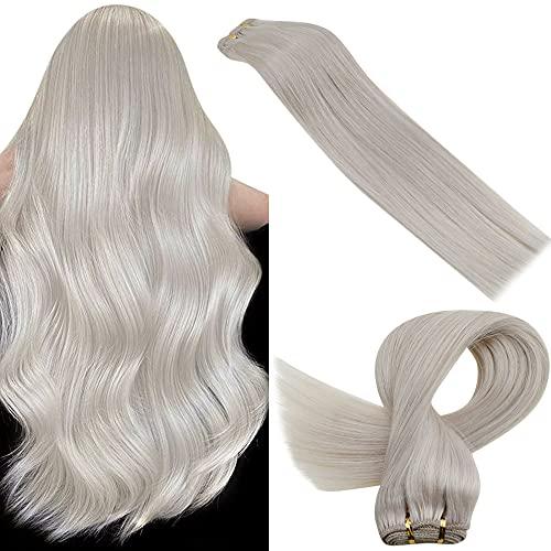 LaaVoo Cosido 14 Pulgadas Hair Weave Hair Wefts Sew in Extensiones de Pelo de Cortina Humano Remy Human Hair Bundles #60 Rubio Platino 100G Extensiones de Tejido Cabello Real