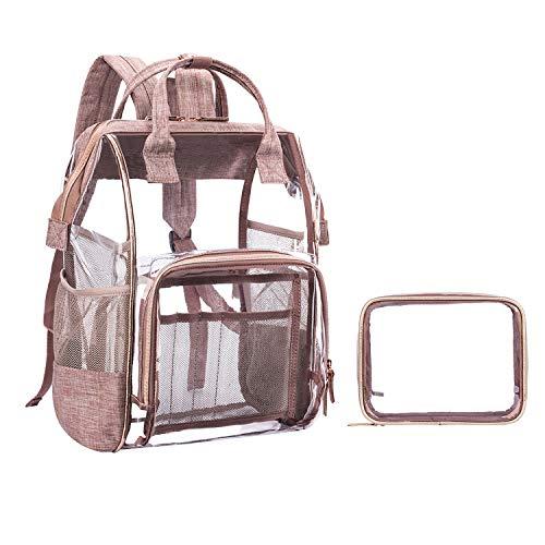 LOKASS transparent PVC Rucksack Schulrucksack, durchsichtige Bibliothekstasche Studenten Backpack Uni Bibbag, klare wasserdichte Schultasche Schoolbag für Schüler Mädchen Damen