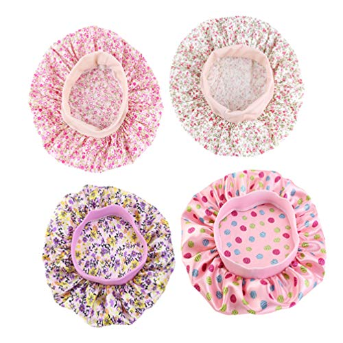 Healifty 4 Pcs Enfants Cheveux Bonnet Réglable Satin Bonnet de Nuit Chapeau de Nuit Bonnet de Cheveux pour Salon Sommeil Spa