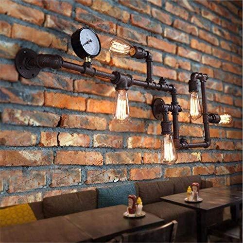 Lámparas de pared industriales, Vintage Wall Light Iluminación industrial Steampunk Creative Do la antigua pintura de horneado oxidado Pinte Metal Lámpara de pared de tubería de agua con medidor de pr