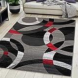 Carpeto Rugs Teppich Wohnzimmer Kurzflor Grau Modern Geometrisch Muster Öko-Tex 300 x 400 cm