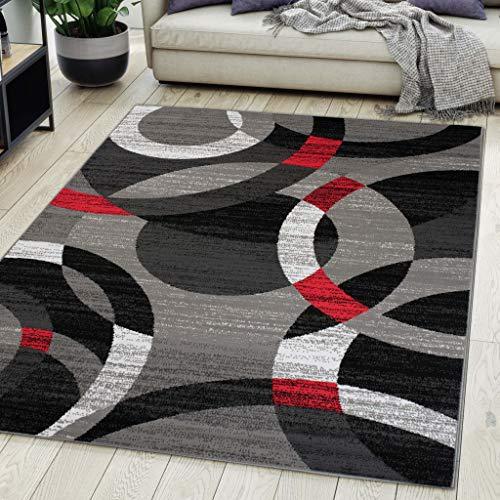 Carpeto Rugs Teppich Wohnzimmer Kurzflor Grau Modern Geometrisch Muster Öko-Tex 250 x 350 cm