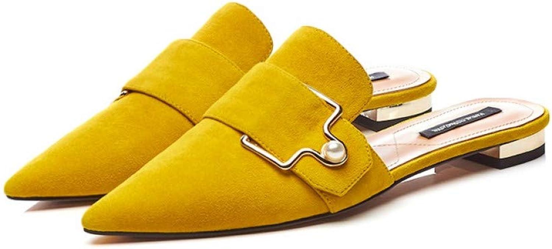 PINGXIANNV Frauen Hausschuhe Mode Spitz Metall Dekoration Lady Mules Mules Mules Schuhe  3087a1