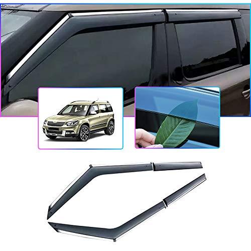 Auto Windabweiser Für S Koda YETI 2014-2017 Seitenfenster Blockiere die Sonne und den Regen Durchscheinender Fensterabweiser 4 Stück Set