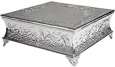 BalsaCircle 22-Inch Silver Plated Square Embossed Wedding Cake Stand - Birthday Party Dessert Display Pedestal Centerpiece Riser
