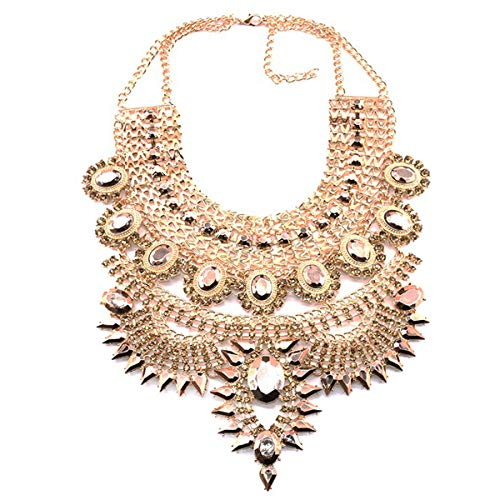 NABROJ Fashion Gold Statement Necklace Chunky Ethnic Tribal choker for Women Drag Jewelry Collar with Gold Tone Crystal 1 Pc-HL23 Gold