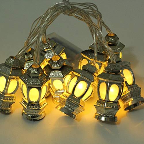 OSALADI Muslimische Ramadan-Laternen, Lichterkette, Eid-Licht, Dekoration für Festival, Party, Schlafzimmer, Geburtstag (warmweiß, 1,65 m, 10 LEDs)