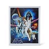 Star Wars Episode IV: A New Hope - Original 1977 Movie Poster Recreation - Decor for Kitchen, Living Room, Family Room, Bedroom - Vintage Unframed 16x20-Inch Wall Canvas Hanging - Licensed Disney Item