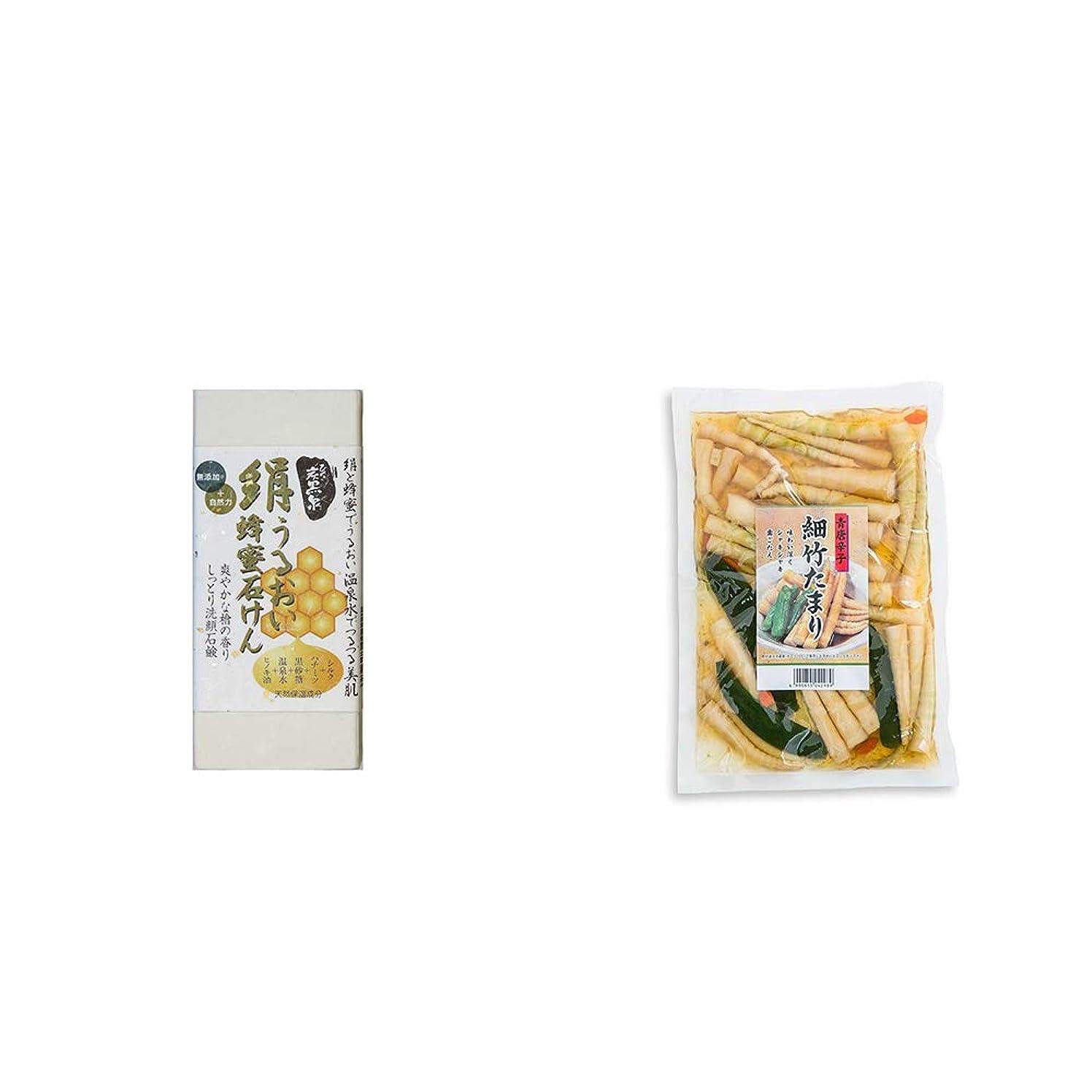 二年生病弱病んでいる[2点セット] ひのき炭黒泉 絹うるおい蜂蜜石けん(75g×2)?青唐辛子 細竹たまり(330g)