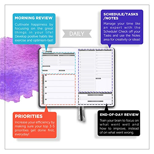 Daily Planner 2021 by Panda Planner - Organizer Planner for Goals, Gratitude & Focus - Weekly & Monthly Agenda Sections - Undated 90 Day Planner