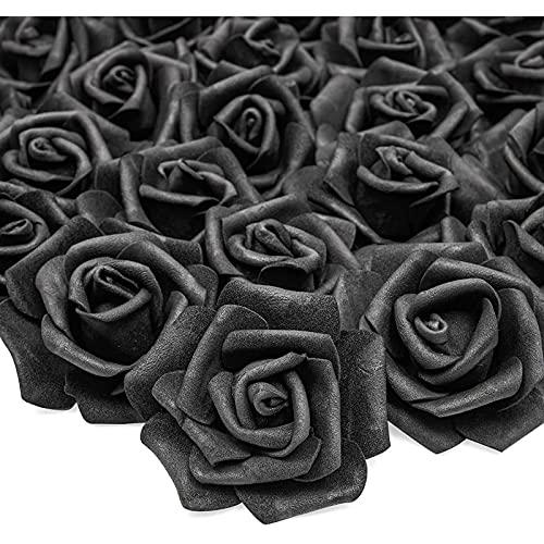Bright Creations Flores artificiales para decoración (negro, 100 unidades)