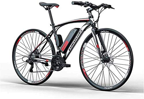 RDJM Bici electrica, Adulto Bicicleta de Carretera eléctrica, batería de Litio de 36V, de Peso Ligero de Alto carbón Marco de Acero, 27 de Velocidad E-Bikes (Color : B, Size : 50KM)