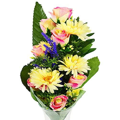 Rabbihom Grande 60 × 40 cm Rosas y Margaritas Flores Artificiales Ramo de Flores Falsas Planta Artificial de plástico Realista Interior y Exterior Jardín de la casa Florero Decoración del Cementerio