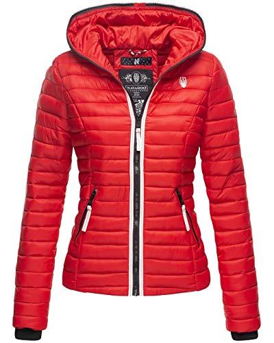 Navahoo Damen Jacke Steppjacke Übergangsjacke gesteppt Herbst Kapuze B811 [B811-Kim-Pri-Rot-Gr.M]