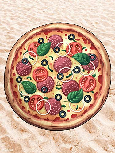 BE CRAZY THE BRAND Toalla de Playa Microfibra Forma de Pizza - Diseño Innovador, Fresco, Tentador y Divertido de una Pizza.