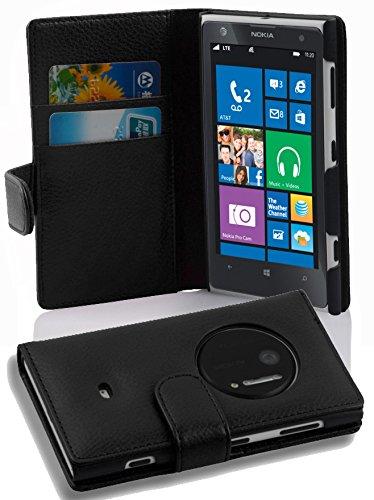 Cadorabo Custodia Libro per Nokia Lumia 1020 in Nero Profondo - con Vani di Carte e Funzione Stand di Similpelle Strutturata - Portafoglio Cover Case Wallet Book Etui Protezione