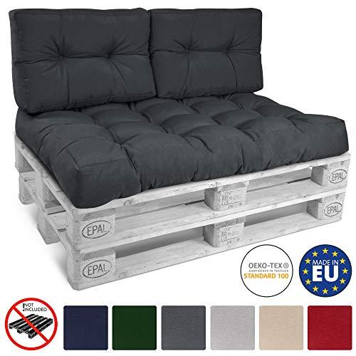 Beautissu Palettenkissen Eco Style 2er Set Rückenkissen 120x40x10-20 cm Outdoor Palettenauflage Palettenpolster in Graphit-Grau