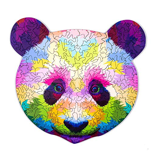N N Jigsaw Puzzle Wooden Thick Rainbow Panda Wooden Puzzle Toy Laser Cutting Craft Childrens Puzzle 191 Pieces Animal Shaped Jigsaw Gifts for Mom Dad Toys Gift for Friend