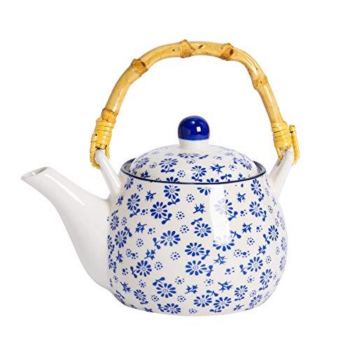 Nicola Spring Weiß-Blauer Gänseblümchen Tee-/Kaffeekanne mit Bambusgriff. 500 ml