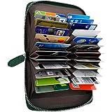 [NEESE] カードケース カード入れ 大容量 磁気防止 スキミング防止 メンズ レディース (モスグリーン)