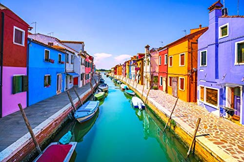 Venice, Italy - Famous Landmark of the Burano Island Canal, Colorful Houses, Boats 9020306 (12x18 Art Print, Wall Decor Travel Poster)