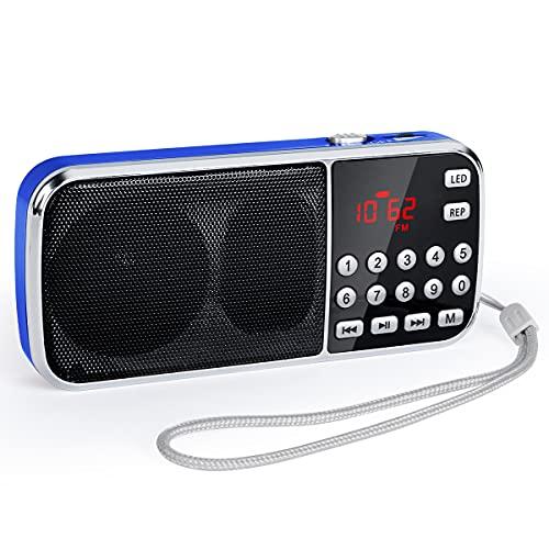 PRUNUS J-189 Radio Portatil Pequeña Am/FM, Radio Bluetooth Portatil con Altavoz de Graves Profundos, Reproductor de...