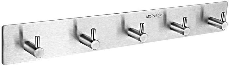 MXtechnic Self Adhesive Key Hooks and Hanger, Stainless Steel Heavy Duty Coat Hanging Shelf Robe Towel Hanger Rack 5-Hook ...
