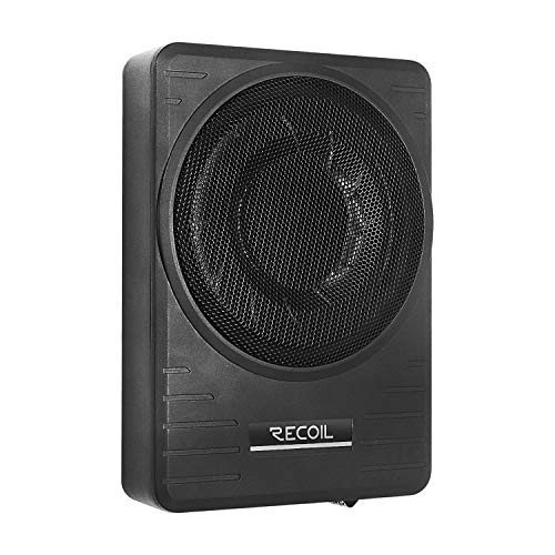 """RECOIL SL1710 10"""" 300 Watt Under-Seat Slim Low Profile Active Powered Car Subwoofer with Installation Wiring Kits"""
