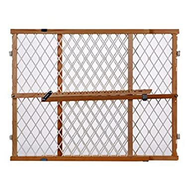 Supergate Wood Frame Diamond Mesh Gate, Fits Spaces between 26.5  to 42  Wide and 23  High