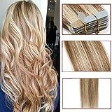 40 Pcs Extension Adhesive Naturel Cheveux Bande Adhésive Ruban Adhésif - Rajout Extensions Cheveux Humains Naturels Remy Hair (#12+613 Marron clair Méché Blond Clair, 40cm)