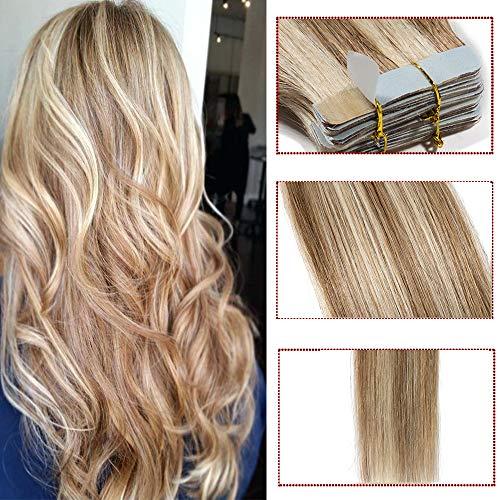 Extension Biadesive Capelli Veri con Mechè- 40cm 100g 40 ciocche #12/613 Marrone Chiaro/Biondo Chiarissimo - 100% Remy Hair Lisci