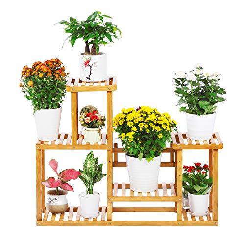 Bamboo Plant Stand Rack 4 Tier Indoor&Outdoor Multiple Flower Pot Holder Shelf Planter Display Shelving Unit for Patio Garden, Living Room, Corner Balcony and Bedroom (7-9 Flowerpots)