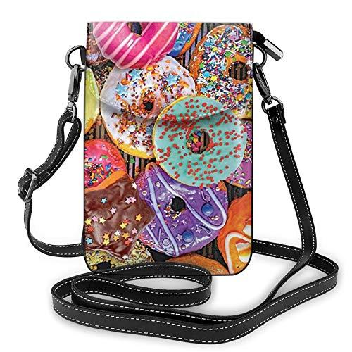 Bolso ligero del teléfono celular de la PU, donuts chocolate helado pequeño Crossbody Bolsos monedero bolso bolso Pounch para las mujeres, color Negro, talla Talla única