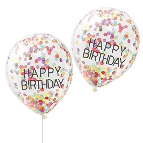 Bunte Geburtstags-Ballons/Luft-Ballons Happy Birthday transparent mit Buntem Konfetti - Geburtstag-s-Dekoration Erwachsene Kinder Junge-n Mädchen Männer Frau-en (5 Ballons)
