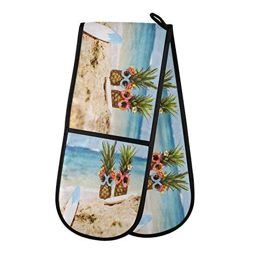 TropicalLife DLBBABZ - Gafas de sol de playa de verano de piña con doble guante antideslizante para horno doble guante de horno resistente al calor para cocinar hornear y barbacoas