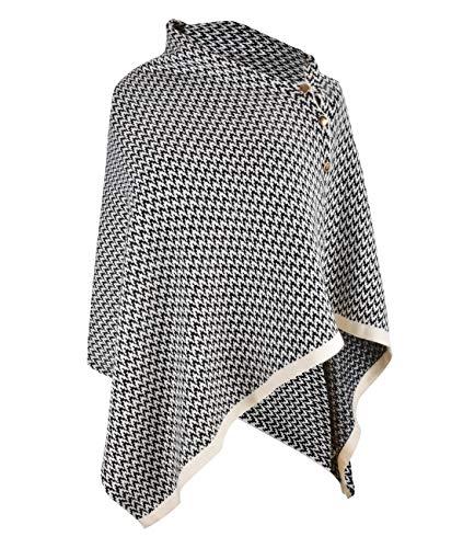 CARCOS Damen Poncho Schal mit Knöpfen Fransen Cape Decke Kaschmir-Mischung Weich Warm Multifunktion für Frühling Herbst Winter Schwarz