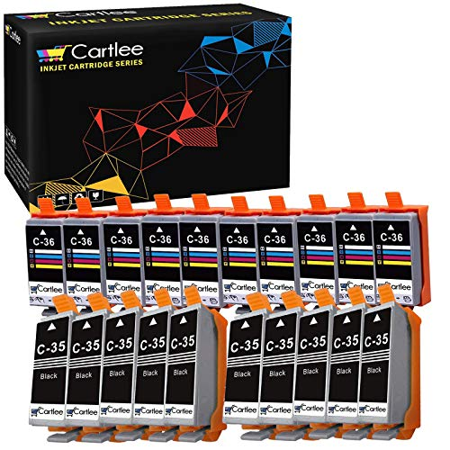Cartlee 20 Compatible PGI-35 CLI-36 High Yield Ink Cartridges for PIXMA iP100, PIXMA iP110 (10 Black, 10 Color)