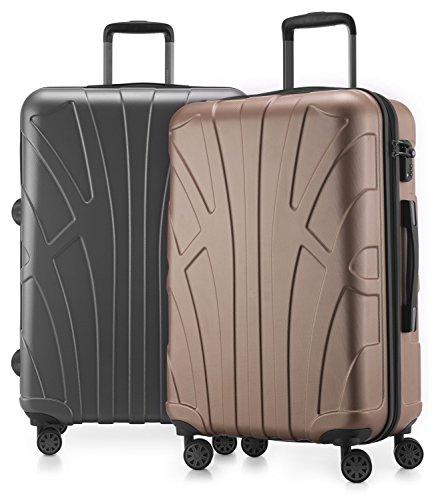 Suitline - 2er Koffer-Set Trolley-Set Rollkoffer Hartschalen-Koffer Reisekoffer, TSA, 66 cm, 100{4fb23d064fedaa4890b0f49d13e0311dbae54772fc3aac018d32bb9177351b67} ABS, Matt