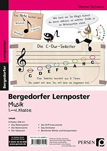 Lernposter Musik - 1.-4. Klasse: 6 Poster für den Klassenraum (Bergedorfer® Lernposter)