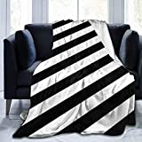 Manta de Microfibra Manta de Tiro Rayas Negro Blanco Estampado Ultra Suave Ligero Acogedor y cálido Manta difusa de Microfibra para Cama Sofá Sala de Estar Todas Las Estaciones-Rayas Negro B