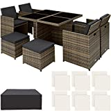 TecTake 800857 Rattan Aluminium <span class='highlight'>Garden</span> Dining Cube Set 4 4 Seats   1 Table incl. Protection Slipcover   2 Sets for Exchanging Upholstery, Stainless Steel Screws (Natural)