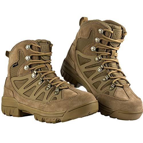 FREE SOLDIER Stiefel Herren Mid Taktisch Kampfstiefel Outdoor Militär Security Schuhe Männer Alles Gelände Stiefel zum Wandern, Jagen, Arbeiten, Armee Airsoft,Combat(43, Wolfsbraun)