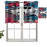 Hiiiman Cortinas para tratamientos de ventana con ojales en la parte superior de los coches nostálgicos estadounidenses, juego de 1, paneles opacos decorativos para el hogar de 106,7 x 45,7 cm