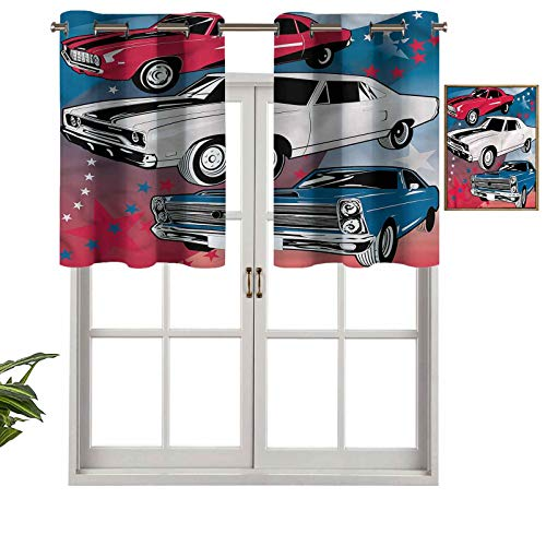Hiiiman Cenefa opaca con ojales de alta calidad para coches de músculo americano, juego de 1, paneles opacos decorativos para el hogar de 132 x 45 cm para dormitorio