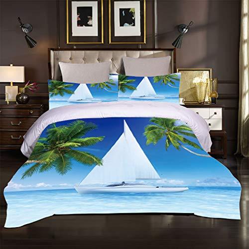 Ocean Seaside Scenery - Juego de ropa de cama (3230 x 260 cm), diseño de olas azules y de coco
